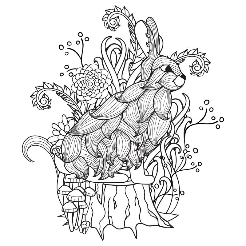 Free Black And White Bunny, Tree Stump, Wood, Flowers, Trees, Fairy Tale. Stock Photos - 68064673
