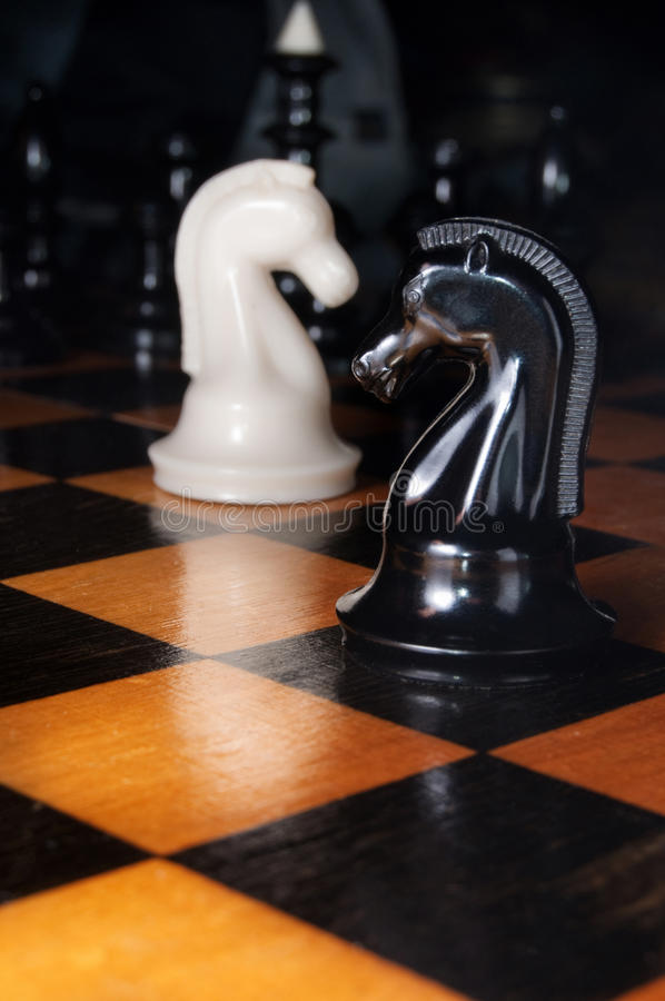 Free Black And White Chess Horses Stock Images - 18188854