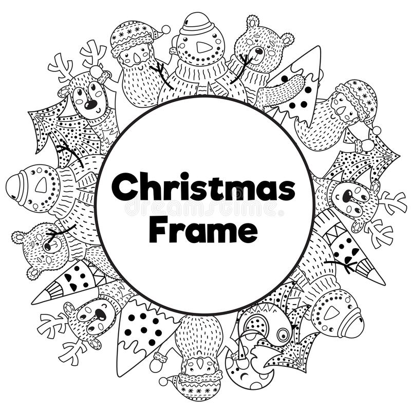 Free Black And White Christmas Frame In Coloring Page Style Stock Image - 150973181