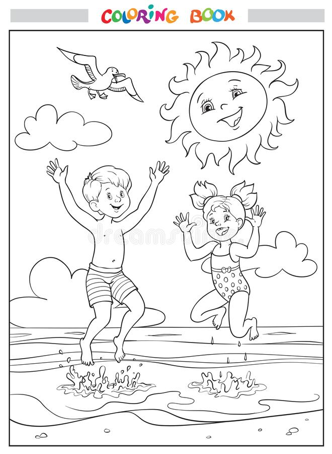 Free Black And White Coloring Book Or Illustration. Joyful Girl And Boy Are Jumping Into The Sea On The Beach, The Sun Is Smiling In Th Stock Photos - 217747243