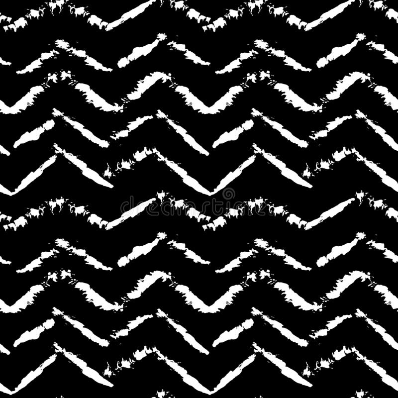 Free Black And White Hand Drawn Dry Brush Zig Zag Seamless Pattern. Vector Illustration. Royalty Free Stock Photos - 147257368