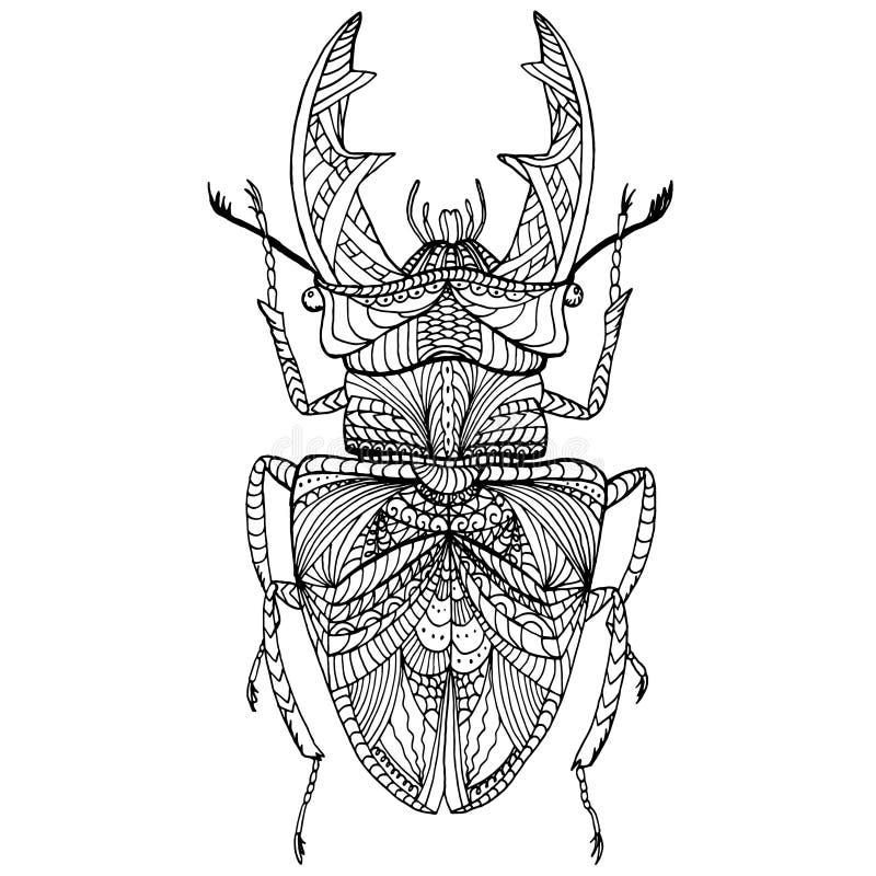 Free Black And White Hand Drawn Zentangle Stylized Bug. Royalty Free Stock Photos - 71179708
