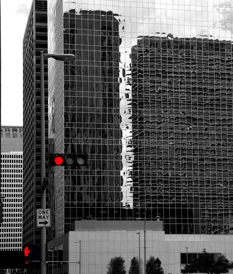 Free Black And White Houston Texas Downtown Mirror Buildings Royalty Free Stock Image - 34092776