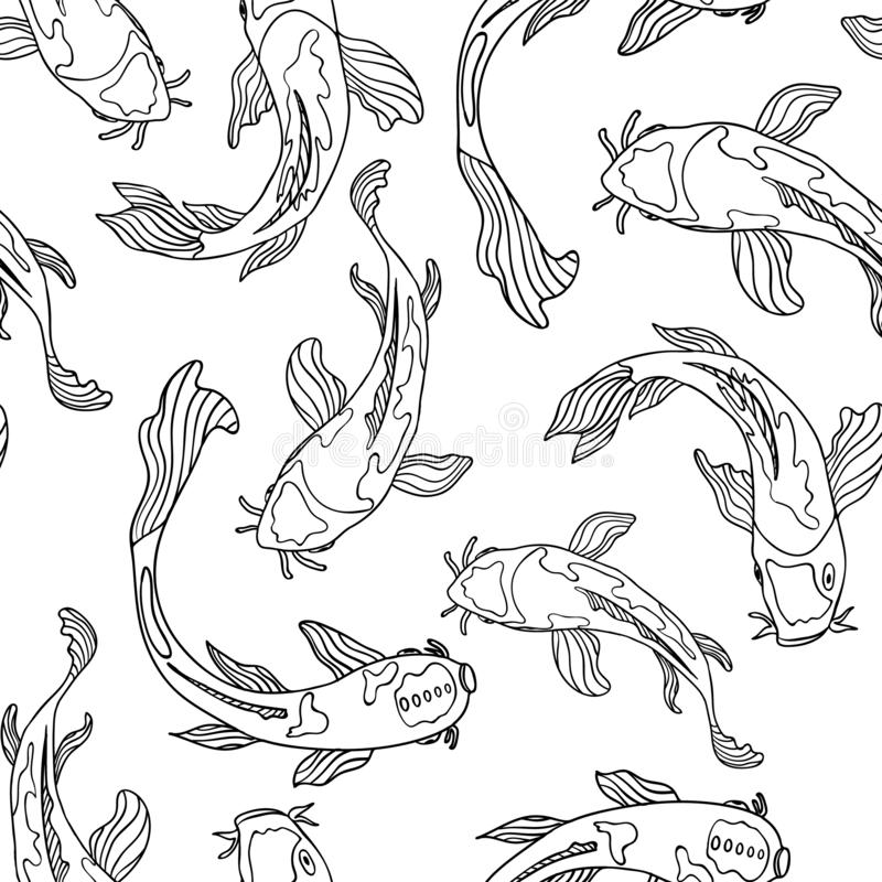 Free Black And White Line Art Swimming Japanese Koi Fish. Seamless Vector Pattern Background Royalty Free Stock Image - 136014866