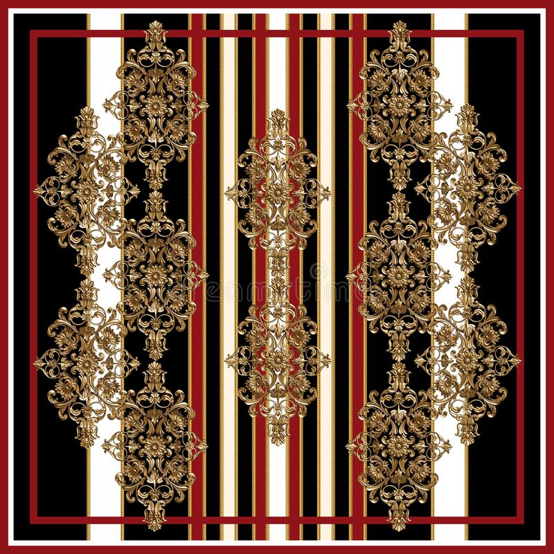 Free Black And White Red Scarf Design With Golden Baroque Ornaments Royalty Free Stock Images - 217797049