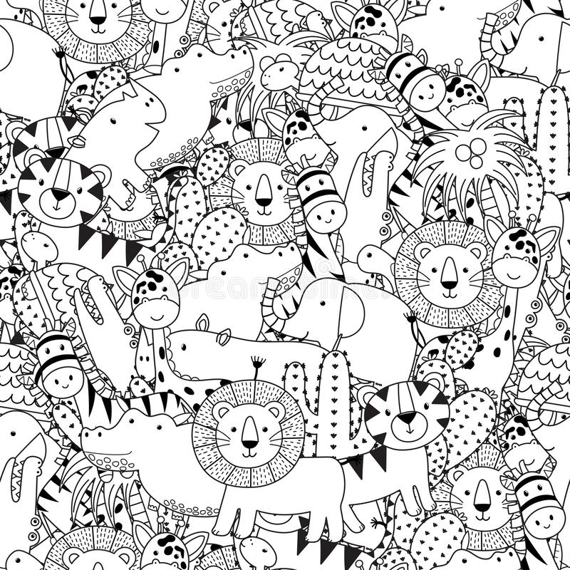 Free Black And White Seamless Pattern With Adorable Safari Animals. Coloring Page For Adult And Kids Royalty Free Stock Photography - 150972107