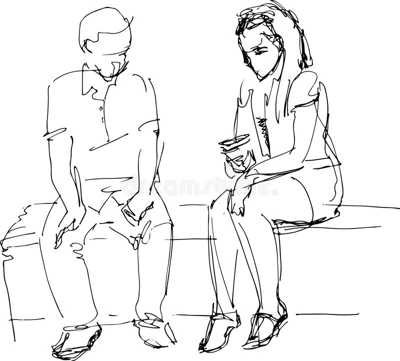 Free Black And White Sketch Of Man And Woman On A Bench Stock Photos - 44718953