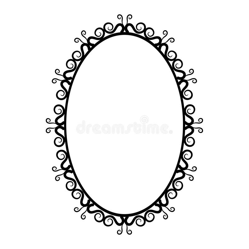 Free Black And White Vintage Oval Frame On A White Background Royalty Free Stock Photos - 55252988