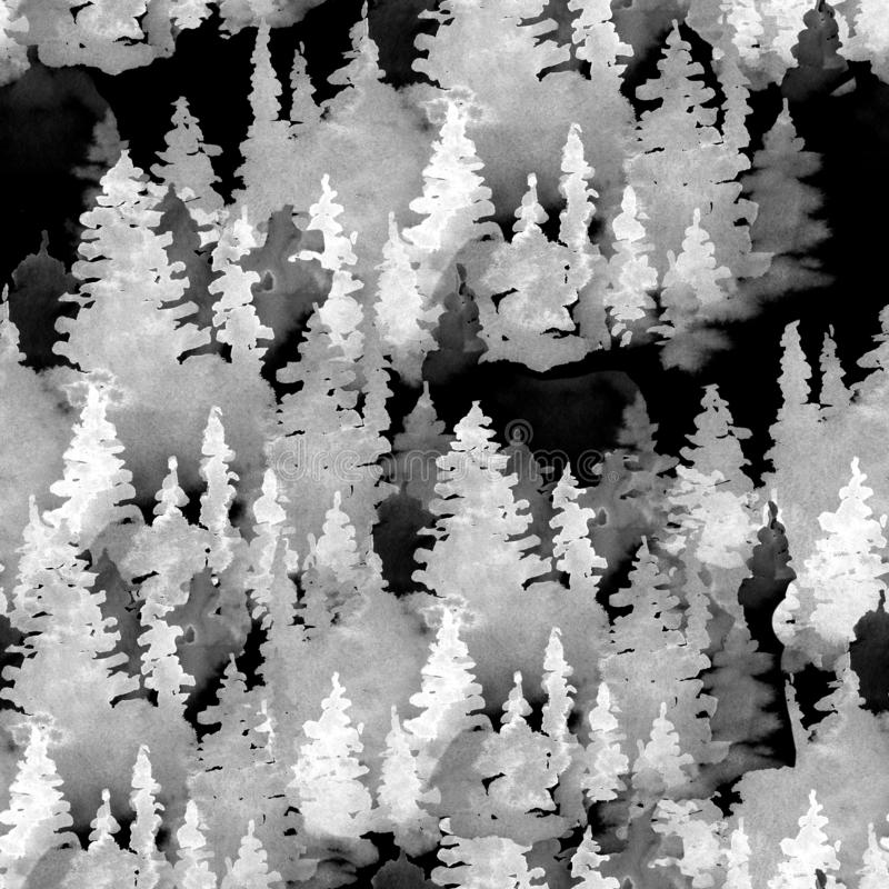 Free Black And White Watercolor Seamless Pattern Of Conifer Tree, Monochrome Winter Woodland, Forest Landscape Royalty Free Stock Photography - 164450157