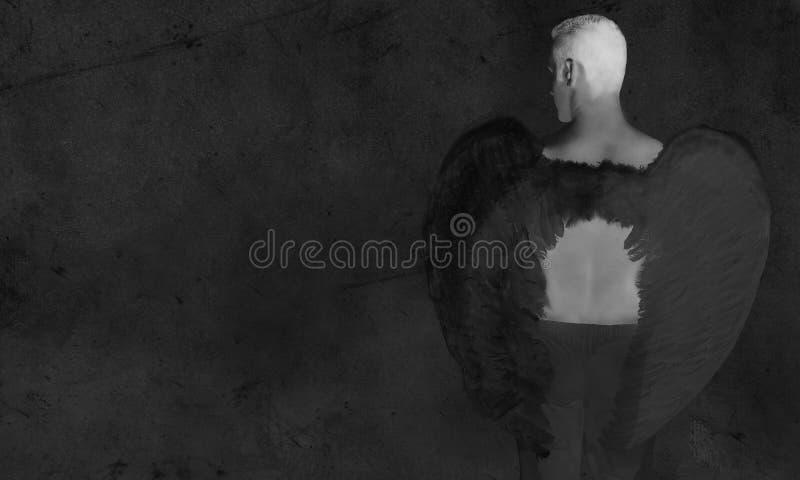 Black Angel a Dark Background. Black Angel Man a Dark Grunge Background stock illustration