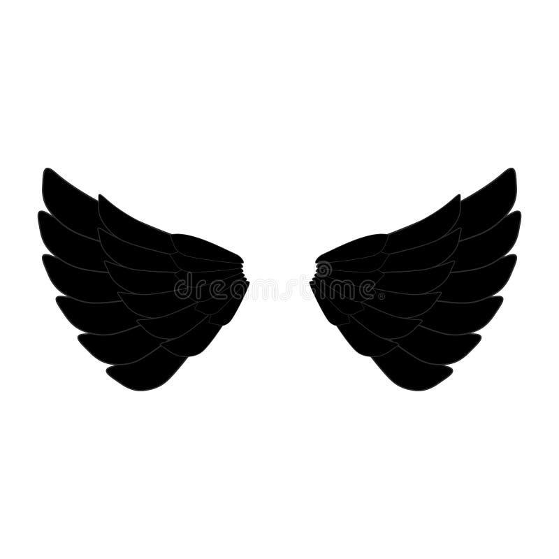 Black angel or eagle wings logo. Black angel eagle wings icon vector eps10. vector illustration