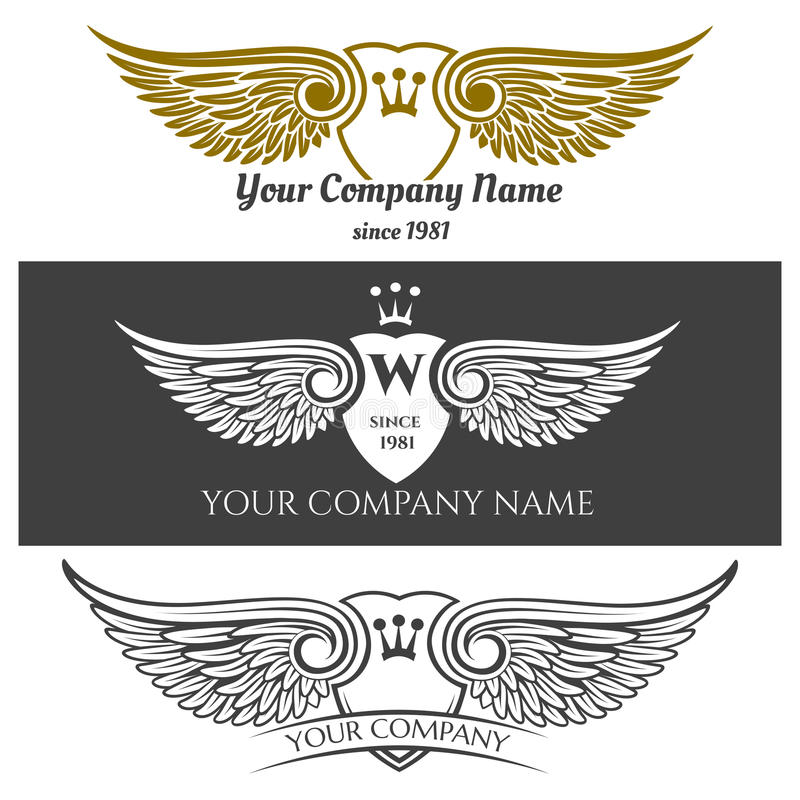 Black angel wings logo set. Vector winged labels with crowns and heraldic shields on background royalty free illustration