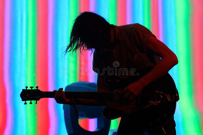 The Black Angels psychedelic rock band perform in concert at Primavera Sound 2017. BARCELONA - JUN 1: The Black Angels psychedelic rock band perform in concert royalty free stock images