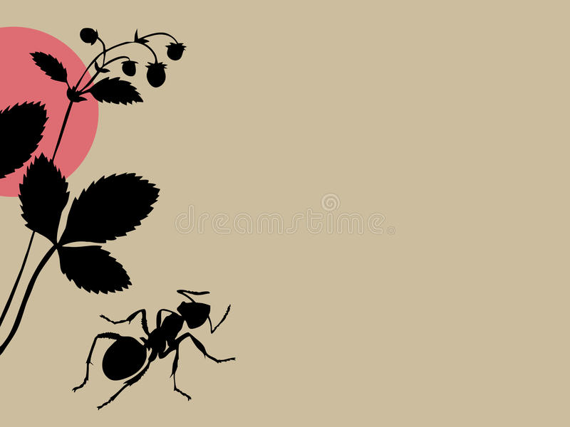 Black Ant On Brown Background Royalty Free Stock Photos