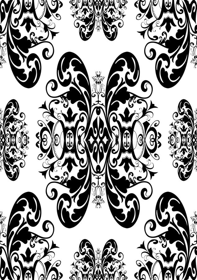 Black antique damask vector illustration