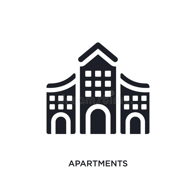 Black apartments isolated vector icon. simple element illustration from architecture and travel concept vector icons. apartments. Editable black logo symbol royalty free illustration