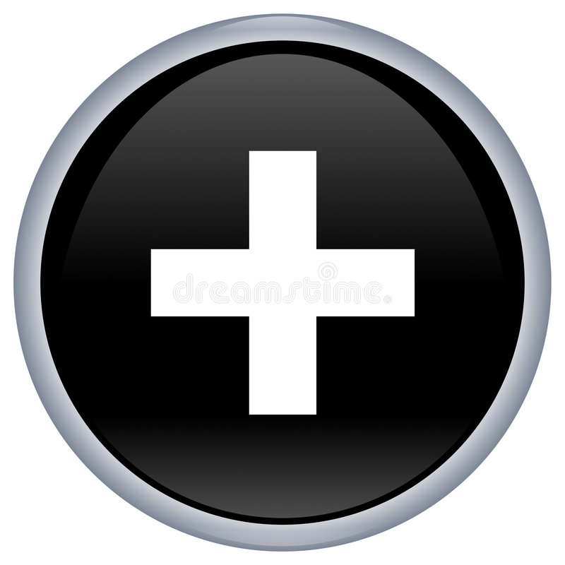 Black Aqua Button With White Cross Stock Photography