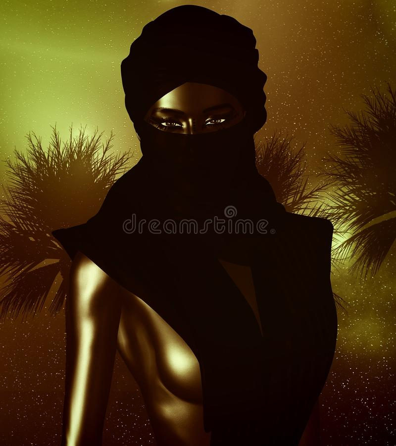 Black Arab Woman from the Saharan sands vector illustration