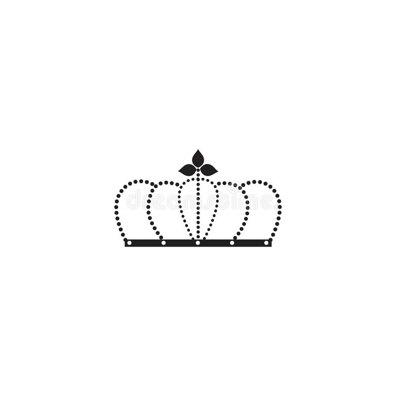 Black arched crown silhouette of queen or king royal symbol. Imperial flat icon. Made with dotted lines isolated on white background - vector illustration vector illustration