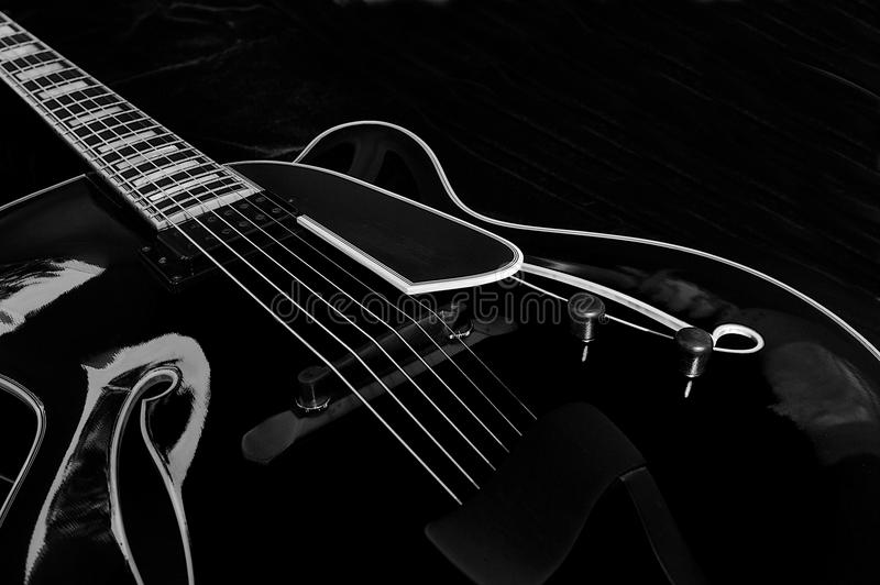 Download Black Archtop Guitar - 01 stock image. Image of neck - 20969135