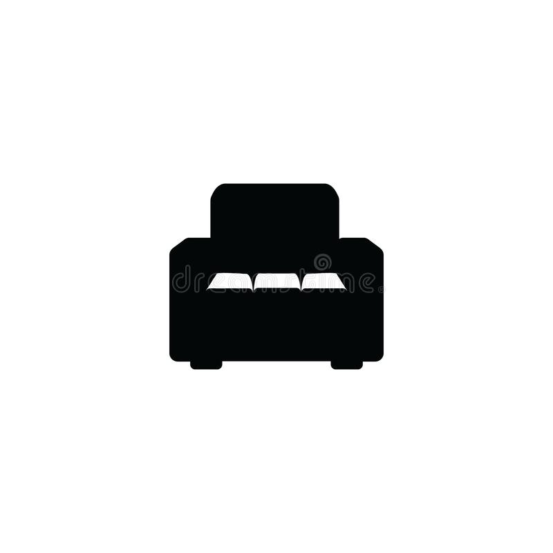 Black armchair icon isolated on white background - front view silhouette royalty free illustration