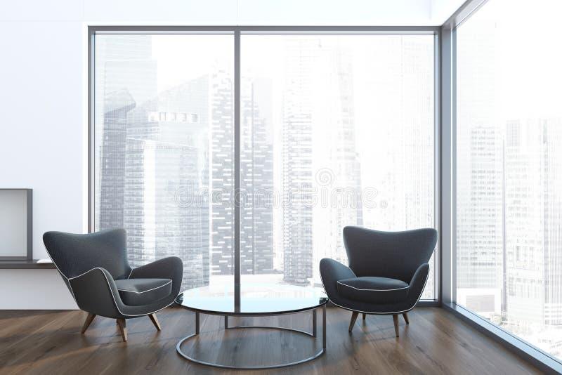 Black armchairs loft living room, white fireplace stock illustration