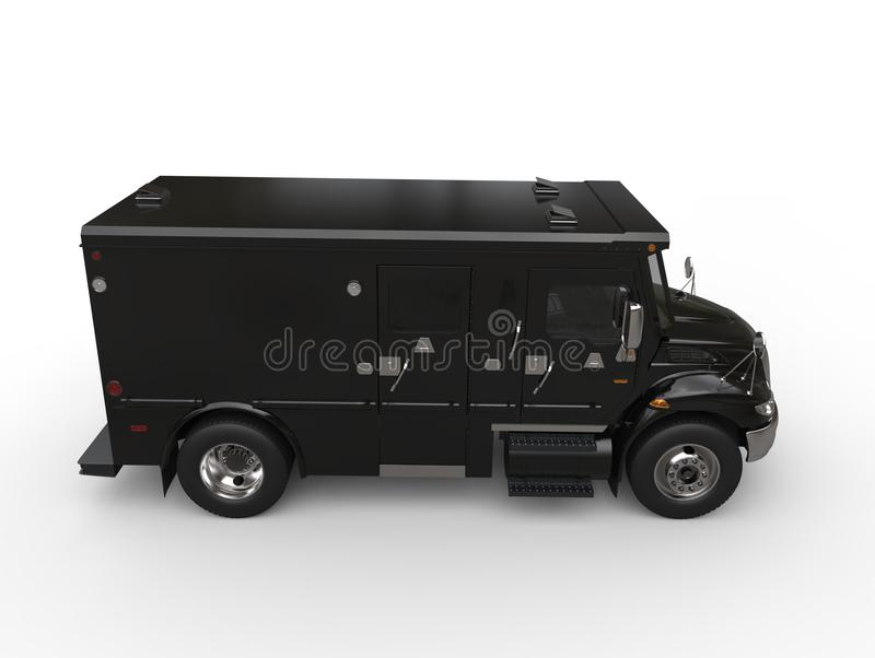 Black armored box truck - side view stock illustration