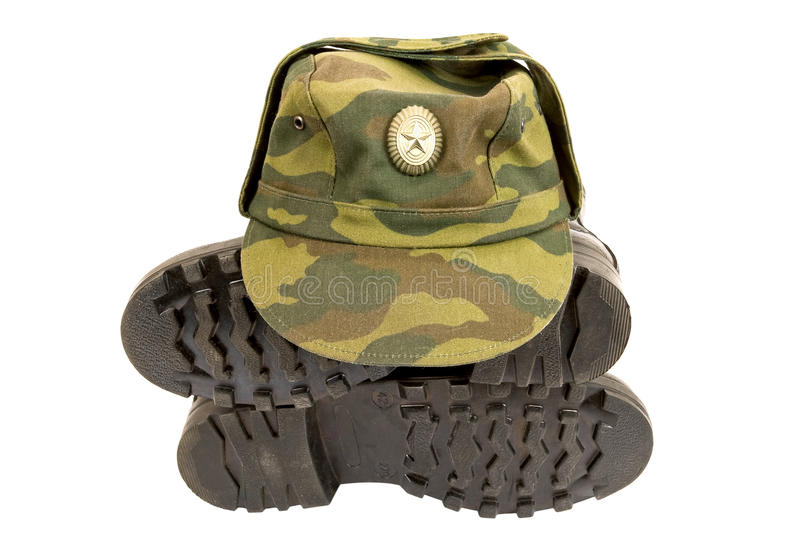 Black Army Boots And Cap Stock Image