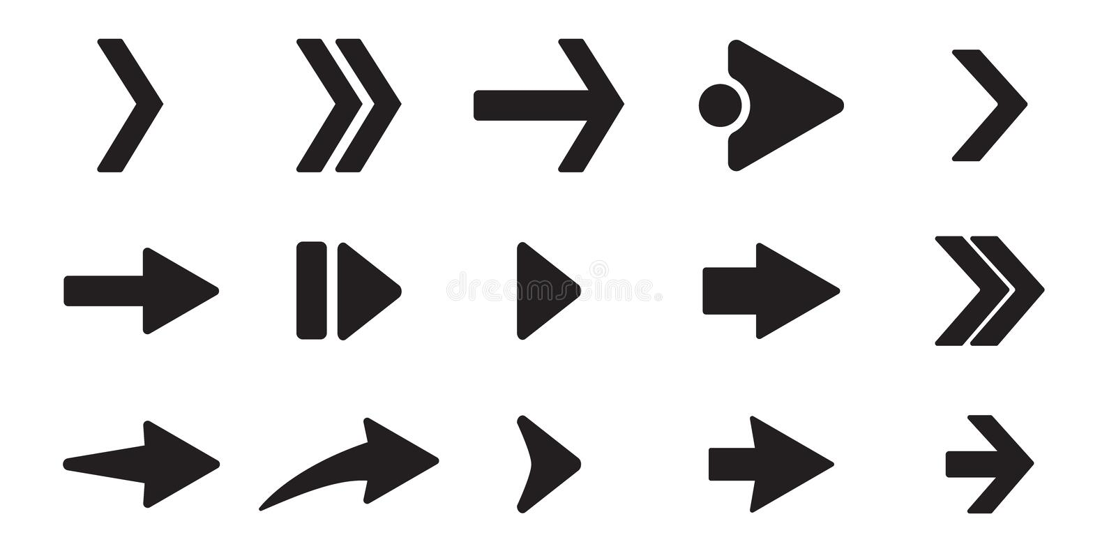Black arrow icons set. Different shape concept, internet button isolated on white background, graphic design. Flat arrow signs. stock illustration
