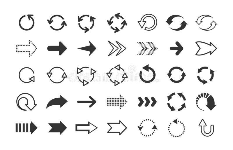 Black arrows. Circle and line direction symbols, flat pointers cursors and next page signs. Vector up down left right vector illustration