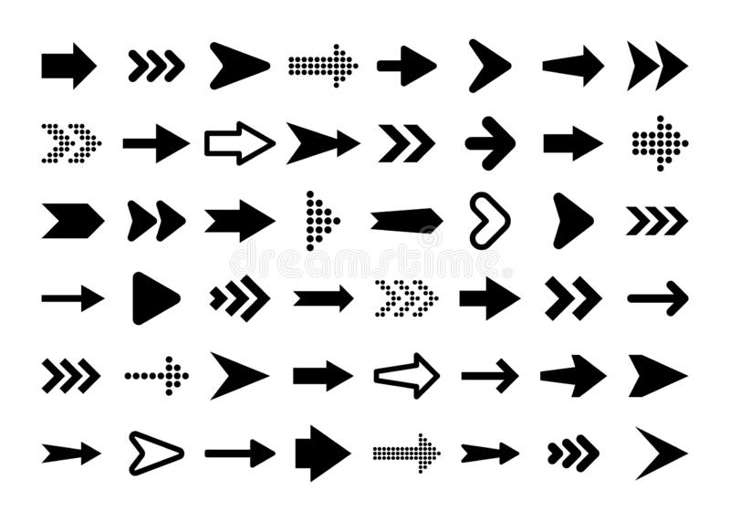 Black Arrows Set on White Background. Arrow, Cursor Icon. Vector Pointers Collection. Back, Next Web Page Sign. vector illustration