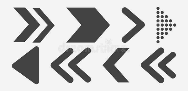 Black Arrows Set on White Background. Arrow, Cursor Icon. royalty free stock photo