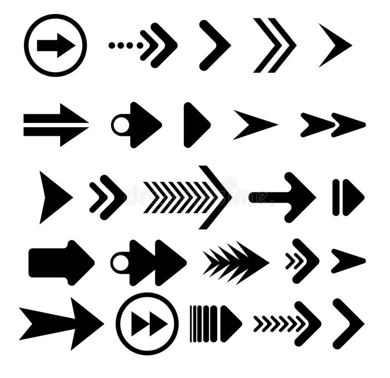 Black Arrows Set on White Background. Arrow, Cursor Icon. Vector Pointers Collection. Back, Next Web Page Sign, Swipe up stock illustration