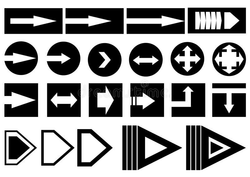 Black arrows icons illustration set stock illustration
