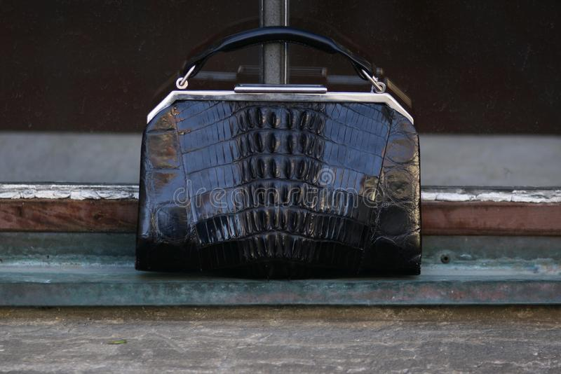 Black art deco crocodile purse outdoor fashion stillife stock images