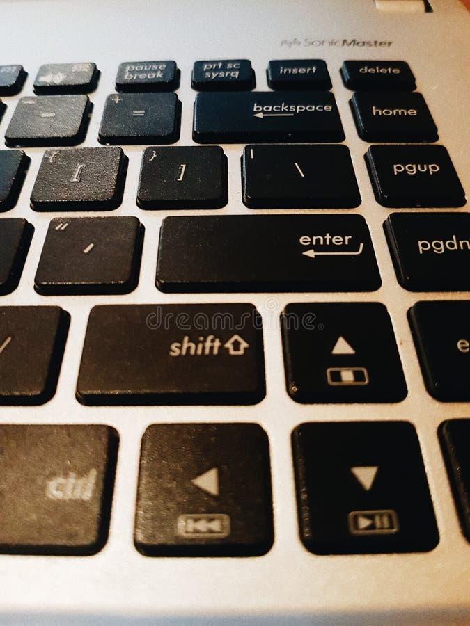 A black Asus keyboard keypad. A close up shot of Asus keyboard keypad. Processed with VSCO with a6 preset royalty free stock images