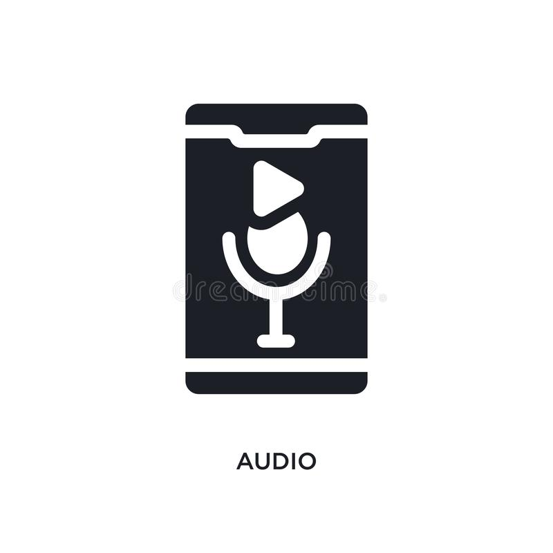 Black audio isolated vector icon. simple element illustration from mobile app concept vector icons. audio editable logo symbol. Design on white background. can royalty free illustration