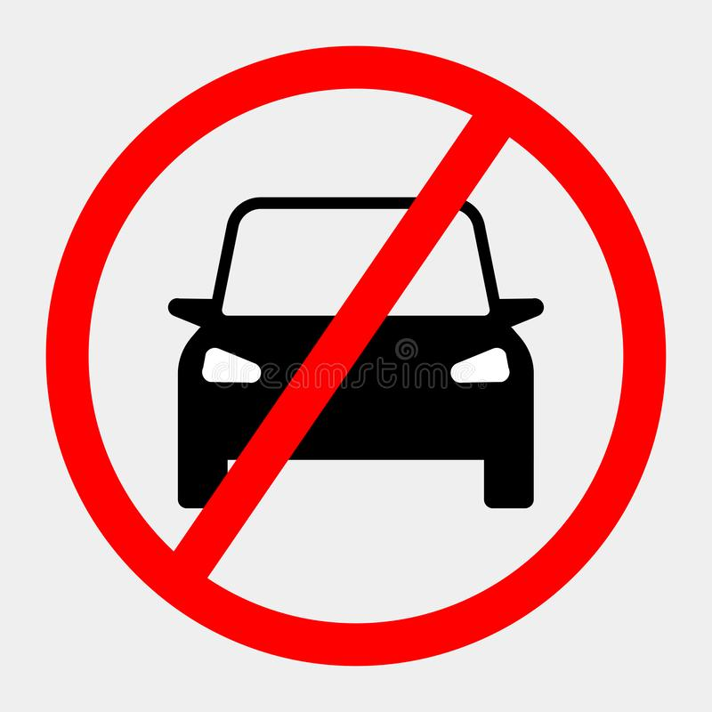 Black auto with forbidden, ban sign isolated on white background. No car, automobile icon. Front view. Business sedan. Vector flat vector illustration