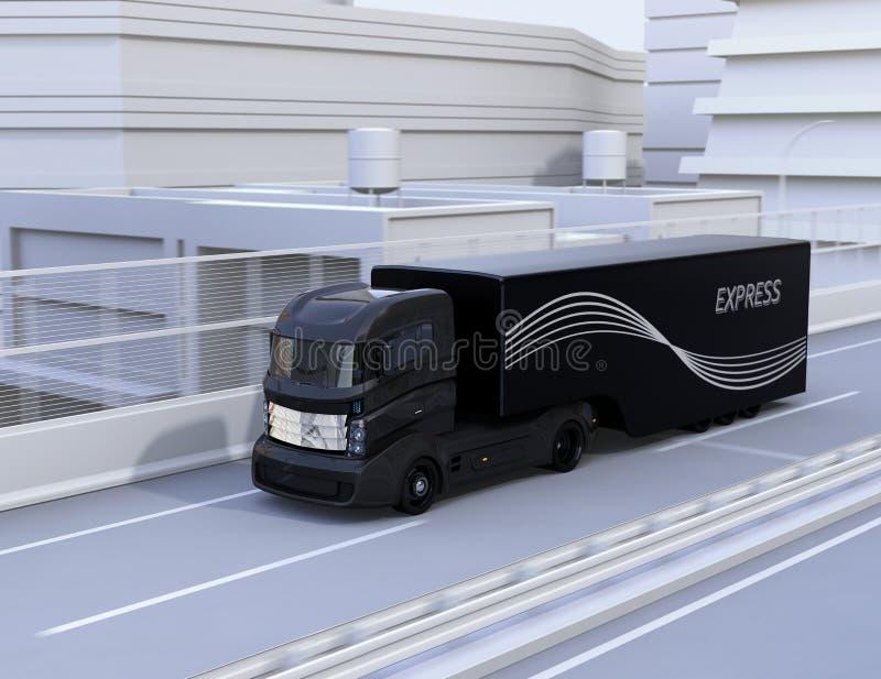 Black autonomous truck driving on highway stock illustration