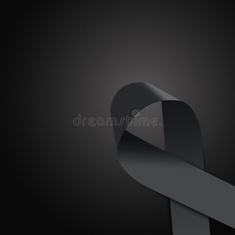 Black awareness ribbon vector illustration
