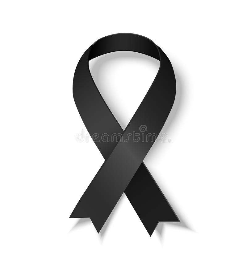 Black awareness ribbon. Symbol of Melanoma. Vector illustrarion of black ribbon with shadow isolated on white background stock illustration
