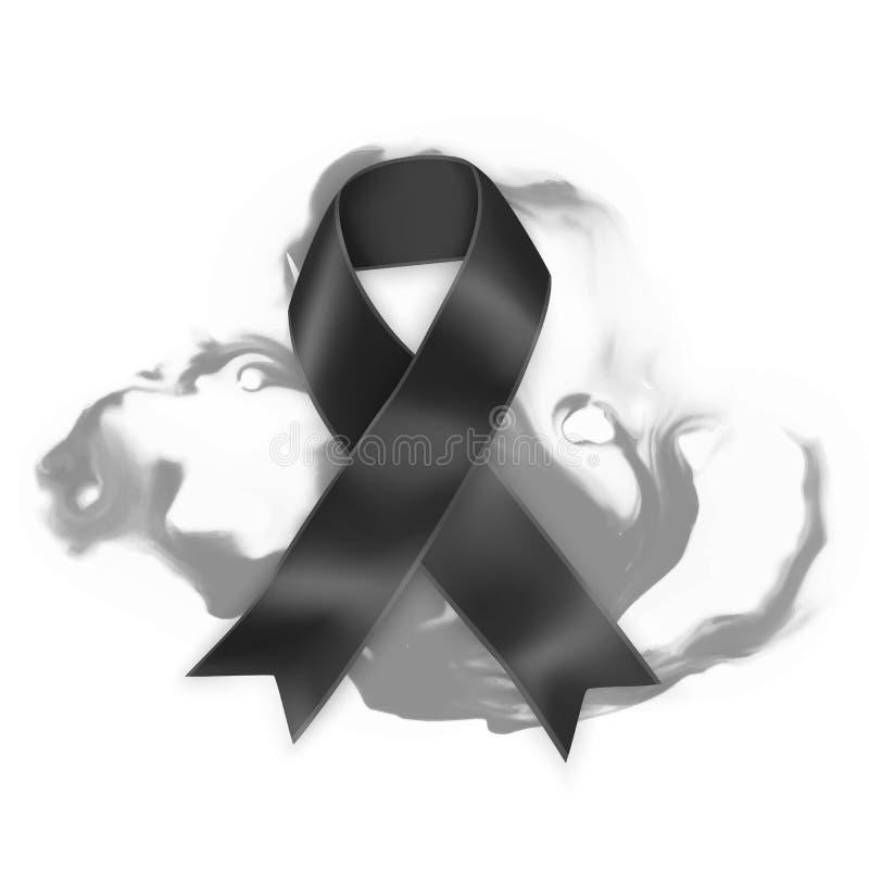 Black awareness ribbon on white background. Mourning and melanoma symbol, Realistic Vector illustration stock illustration