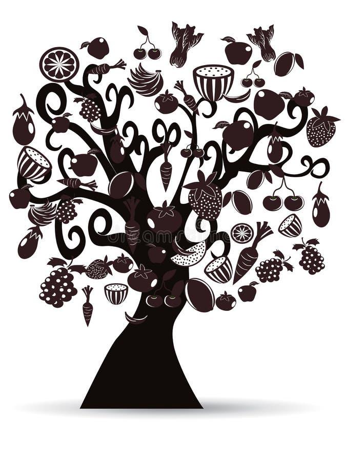 black bär fruktt treegrönsaker royaltyfri illustrationer