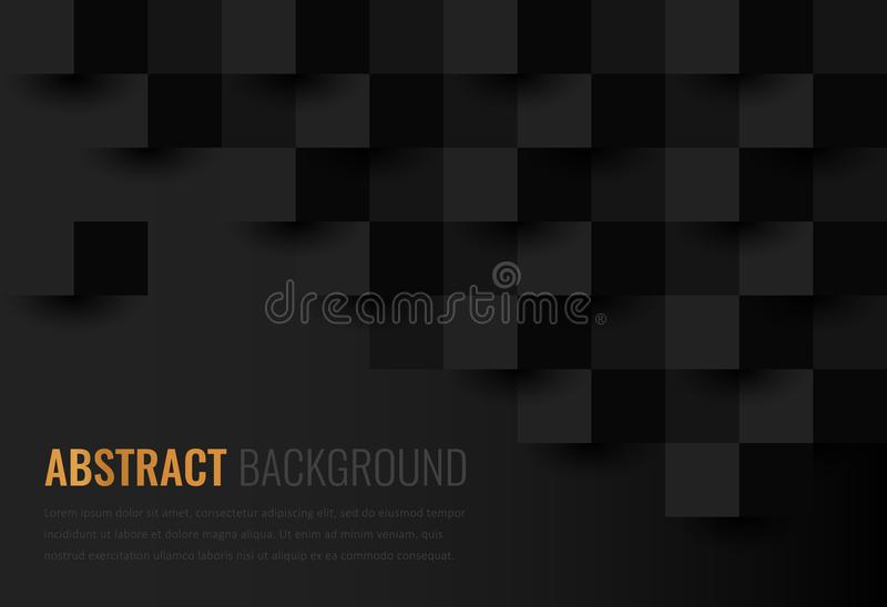 Black background. Abstract geometric template for business. Background texture with square and triangle. Vector. Illustration royalty free illustration