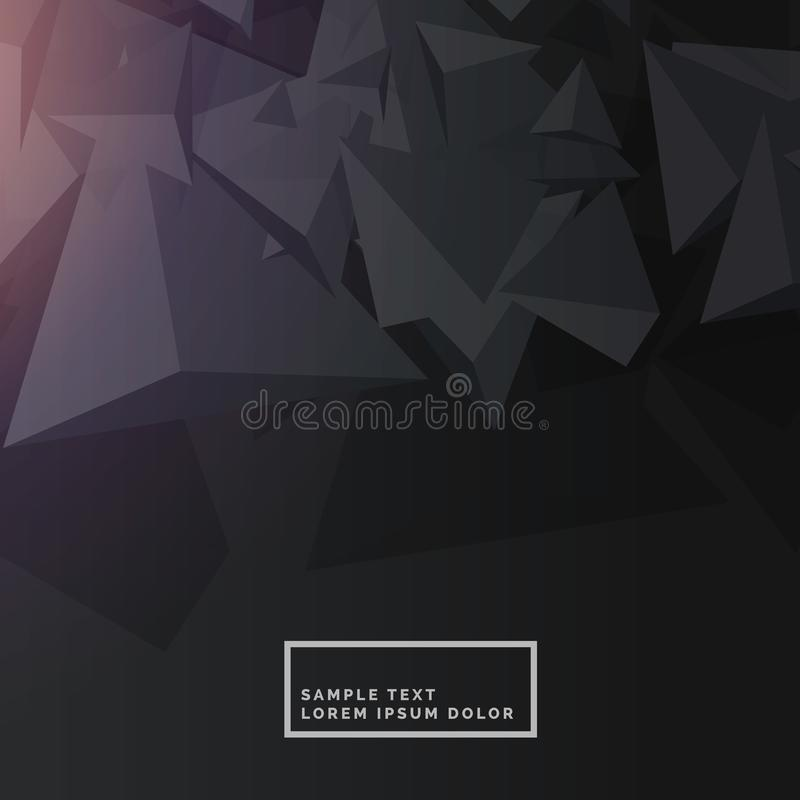 Black background with abstract polygon shapes royalty free illustration
