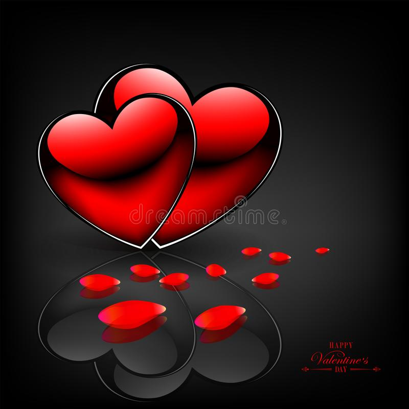 Black background background with two red hearts with mirror image. Black background background with two red hearts, rose petals and with a mirror image vector illustration