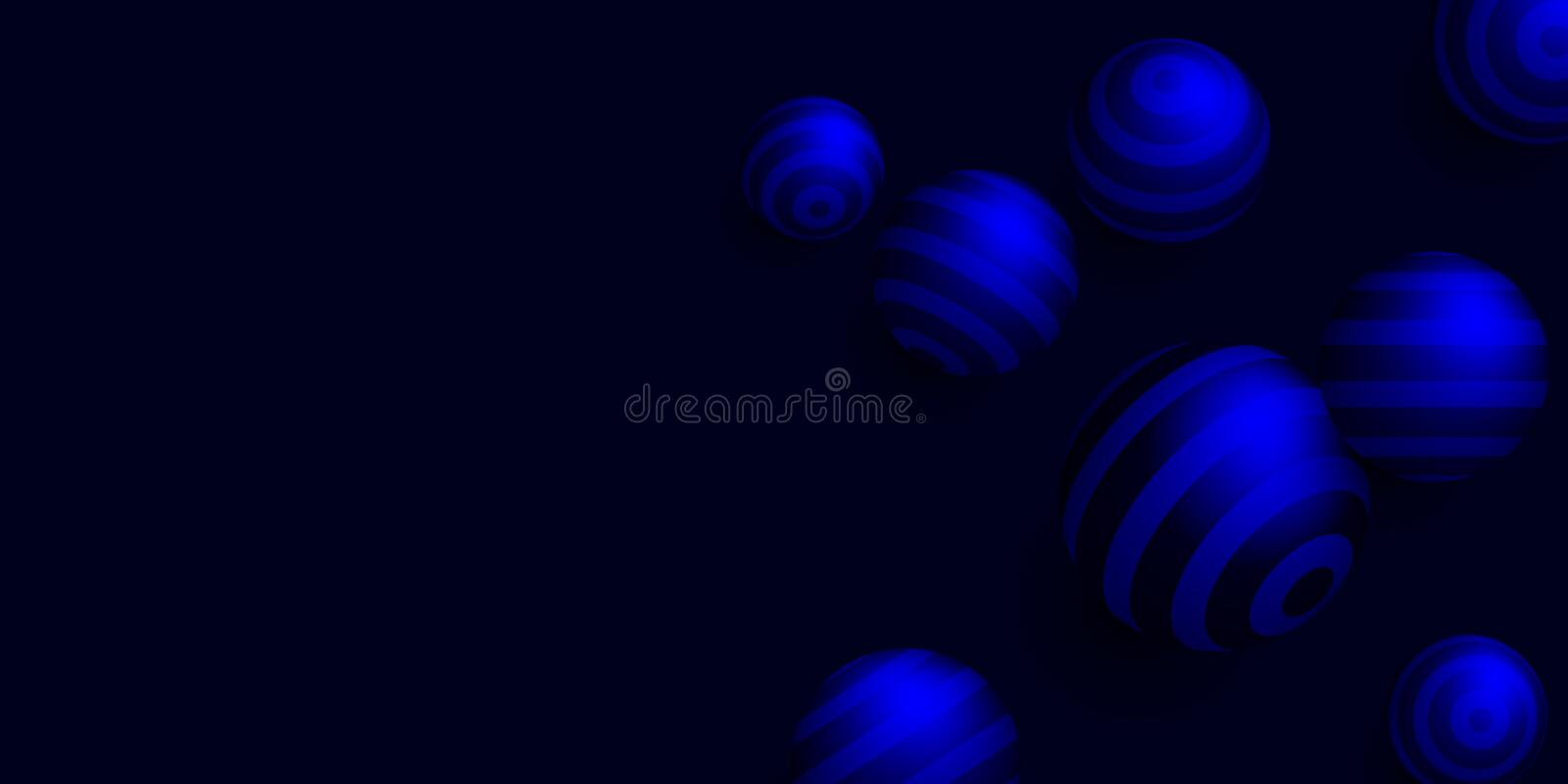 Black background with blue striped 3d balls. vector illustration