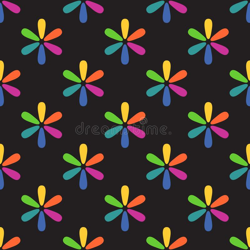 Black background colorful floral seamless pattern vector vector illustration