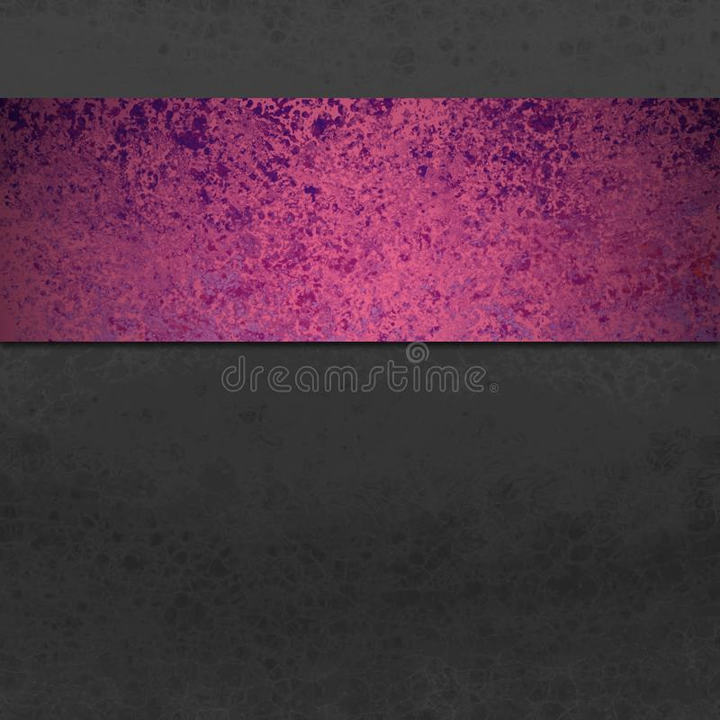 Black background with colorful stripe or ribbon in purple and pink sponged grunge or distressed vintage texture. In elegant fancy design royalty free stock photos