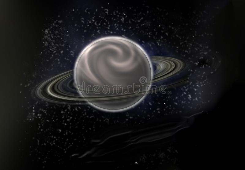 Black star background with a major planet in the centre royalty free illustration